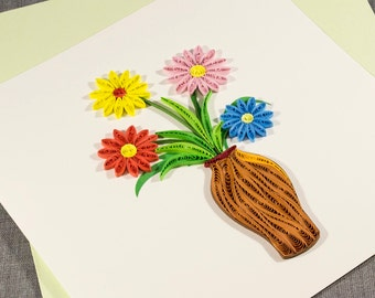 3D Blank Quilled Card - Flowers in Vase