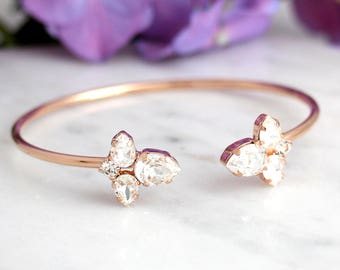 Bridal Crystal Bracelet, Swarovski Rose Gold Bracelet, Bridal Cuff Bracelet, Bridesmaids Jewelry, Cuff Bracelet, Open cuff Crystal Bracelet