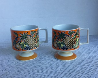 Vintage Ceramic Footed Mugs / Pineapple Florencia 745 by Jonas Roberts / Orange and Yellow Fruit Coffee Cups