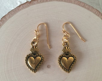 Antique Gold Milagro Sacred Heart Earrings with Gold Ear Hooks
