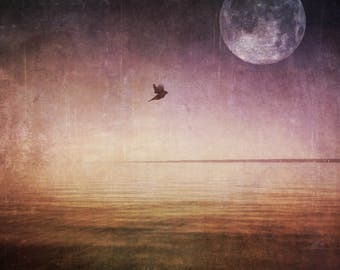 full moon fine art photo, bird ocean lake landscape photography, purple gold home decor bedroom wall, large canvas option spring surreal sky
