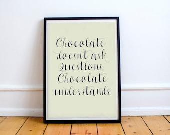 Chocolate understands. Shabby chic illustration on museum paper. Minimal fine art print