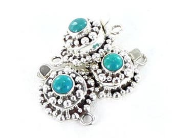 Fox Turquoise Clasp Decorative Sterling 6mm Cushion New World Gems