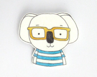 Koala Brooch with striped T-shirt. Koala Pin