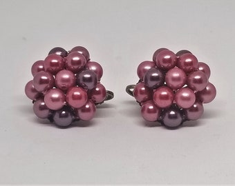 Vintage Pink and Purple faux pearl cluster Clip on earrings