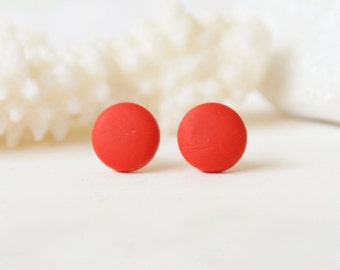 Red Stud earrings red studs, crimson red earrings, round red studs red posts, minimalist red stud earrings polymer clay studs button posts