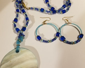 Handcrafted Blue Mother of Pearl Large Pendant Blue Fuse Glass Bead Necklace Earring Set