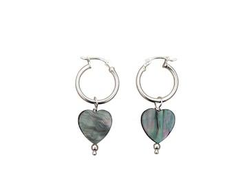 Black Shell & Sterling Silver Heart Earrings