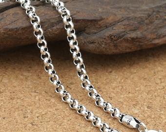 Sterling Silver Rolo Chain, Sterling Belcher Chain, 925 Silver Rolo Chain Necklace 3mm 18 20 22 24 26 28 30 32 Inches - TF401