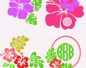 Hibiscus Monogram and Flowers SVG and Studio  Compatible files, JPEG files