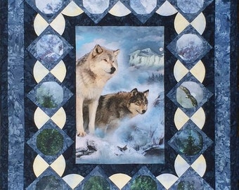 """Wolf Fabric, Glacier Wolf, Call of the Wild - Many Moons Quilt Kit - Featuring (2) Hoffman Panels - DIY 53""""x64"""""""