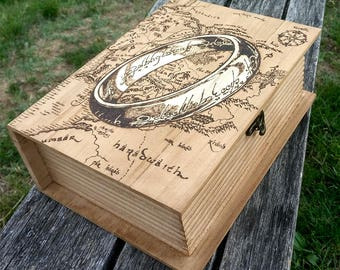 LOTR The Lord of the Rings inspired Middle Earth Map pyrography art box The Book of Adventures