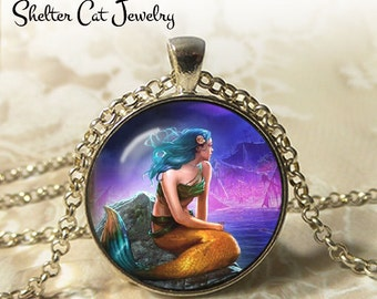 "Mermaid and the Sea Necklace - 1-1/4"" Round Pendant or Key Ring - Handmade Wearable Photo Art Jewelry - Woman, Fairytale, Charming Gift"