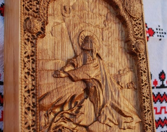Religious christian gift Wood carvings Our Lord Jesus icon wall art orthodox  Icon Agony in the garden  FREE SHIPPING