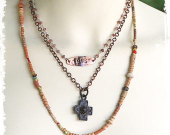 Cross Necklace Layered Jewelry Protection Inspiration Trust Spiritual Gift for Women Multi Strand OOAK