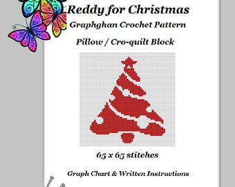 Reddy for Christmas Pillow - Graphghan Crochet Pattern