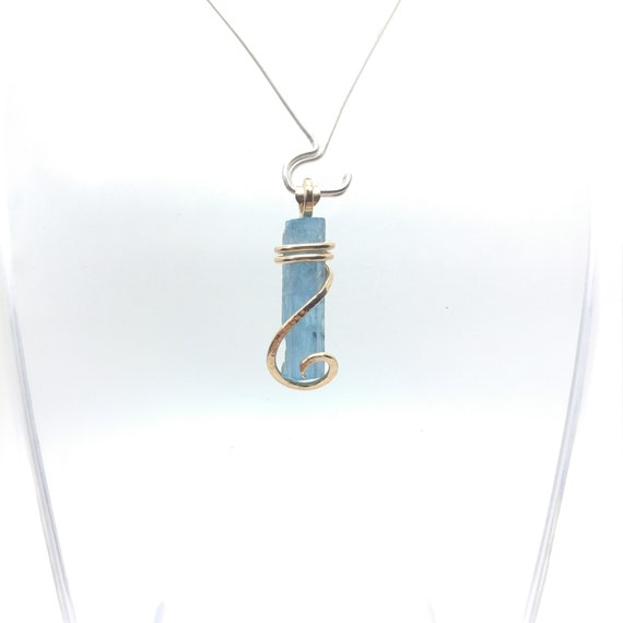 Raw Aquamarine Pendant | Raw Crystal Pendant | 14kt Gold Fill Pendant | Blue Crystal Necklace | March Birthstone Jewelry