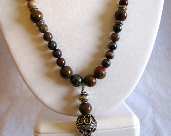 Natural Iron Blood Stone and bali bead necklace