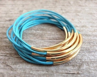 CLEARANCE, Gold Turquoise Bangle Bracelet, Set of 8 Leather Bangles, Gift For Her, Stackable Bracelets, Bohemian Bracelet, Bohemian Jewelry