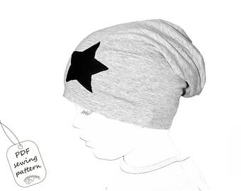Sewing patterns and tutorials - slouchy beanie  pattern PDF, sewing patterns todler, kids sewing patterns pdf