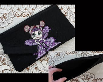 Quilted Sherri Baldy's MyBestie's Wee Winged One Embroidered cosmetic bag