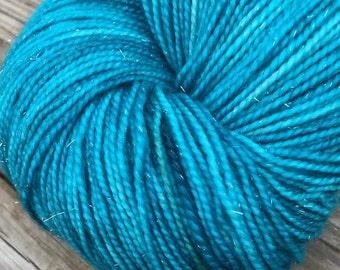 Sparkle Sock Yarn Mermaids Curse Teal Hand Dyed Hand Painted sockyarn 438 yards superwash merino nylon turquoise stellina fingering