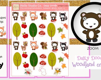 Fall planner stickers woodland planner stickers emoji doodle planner stickers
