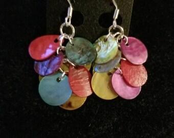 Mehrfarbige Shell baumeln Ohrringe/Kette/Regenbogen/Silber/nautischen