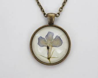 Blue pressed flower necklace