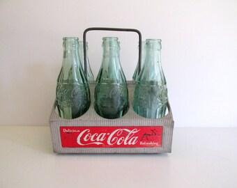 Vintage Cola Carrier Aluminum Caddy Coke Six Pack Coca Cola Bottles