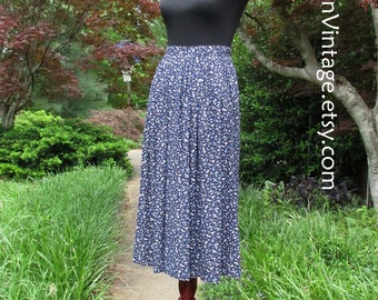 VINTAGE MIDI SKIRT, 90s Boho Rayon Print Skirt, ditzy floral skirt, Navy Dark Blue Purple White flowers, knee-length pleated skirt, pockets!