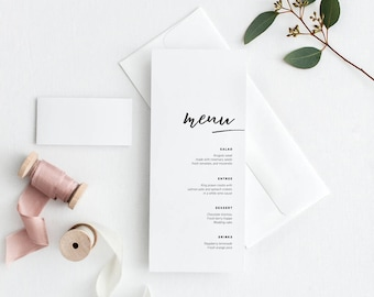 Printable wedding menu, Custom Wedding menu, Minimalist wedding menu, Calligraphy wedding menu, Modern Wedding, Sophisticated Wedding, White
