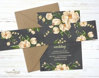 Printable Belly Band for floral vintage wedding invitation set with chalkboard background, Instant download