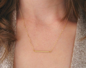 Gold Bar Necklace, Skinny Gold Bar Necklace, Matte Silver Bar Necklace, Minimalist Necklace - 14k Gold-Filled chain