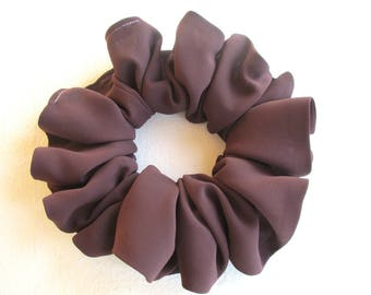 pale brown silk scrunchie for long curly hair, beach accessory for women girl, handmade gift for her, wide scrunchy, 80s 90s disco party