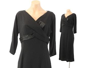 Vintage 50s Wiggle Dress Black Dress R&K Originals Long Sleeve Dress Cocktail Party Dress 1950s Rockabilly Pinup Dress Medium M