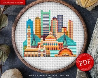 Modern Cross Stitch Pattern of Boston for Instant Download *P084 |Easy Cross Stitch|Counted Cross Stitch|Embroidery Design|City Cross Stitch