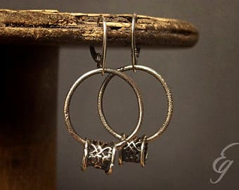 Raw oxidized silver earrings. Organic 925 rough silver.