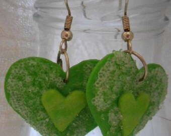 Green hearts sweet polymer clay earrings