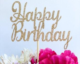 Happy birthday cake topper | Glitter cake topper | Birthday party decor | Custom cake topper | Birthday cake topper | Gold cake topper