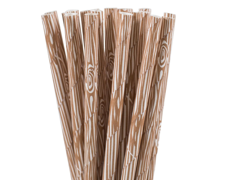 $1.75+  sc 1 st  Etsy Studio & Paper Straws Wood Grain Paper Straws Woodland Party Supplies ...