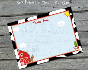 Farm Themed Thank you Barn Cow Horse Pig Chicken Twin Boys Girls  5x7 Thank you card note - INSTANT DOWNLOAD
