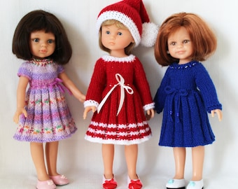 "Knitting pattern for Holiday Dresses and Hat for Paola Reina doll (12""/32 cm) and Corolle Les Cheries doll (13""/33cm)."