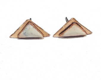 Handmade copper triangle enamel stud earrings