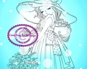 Digital Stamp, Digi Stamp, digistamp, Lavender's Blue by Conie Fong, Coloring Page, girl, flower, basket