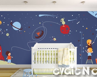 Wall Decal for Boys - Space Stickers with Aliens and Astronauts - PLOS070