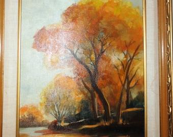Vintage Autumn Trees Oil Painting /Signed