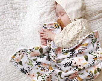 Baby Blanket, BLUSH BLOOMS, lovey blanket, Double Minky, Snuggle Blanket, Security Blanket, baby shower gift