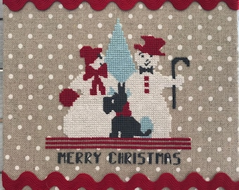 Counted Cross Stitch Christmas - Merry Snowpeople - PDF Instant Download Cross Stitch Pattern