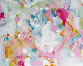 Contemporary Abstract Expressionist Painting / Bold Art / Acrylic / 18x18 / Colourful Canvas by Kim Duhaime / Floral